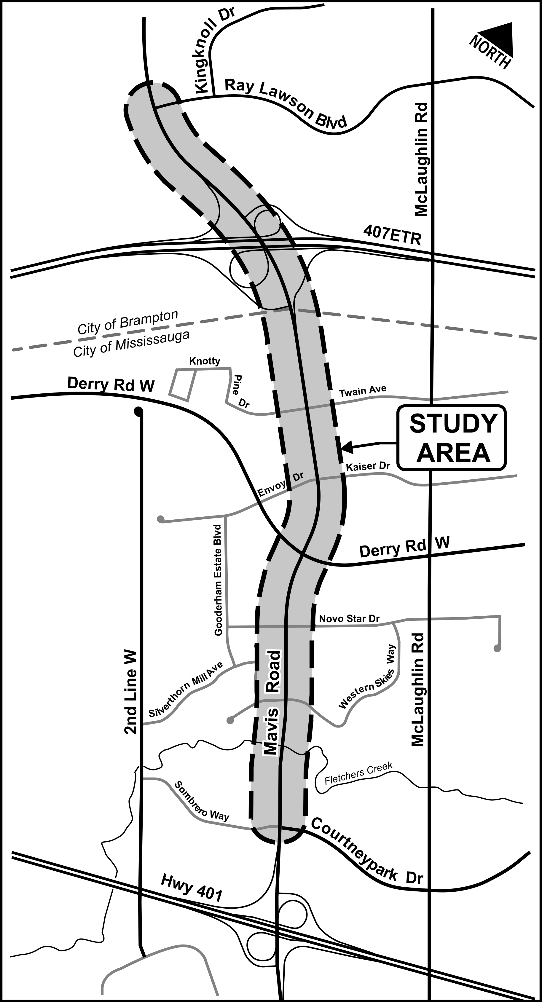 Map of the study area along Mavis Road