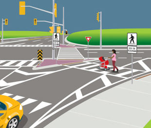 Crossovers at right-turn channels with signs and pavement markings