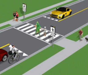 Crossovers with signs and pavement markings