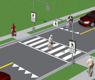 Crossover with overhead signs, beacons and push buttons