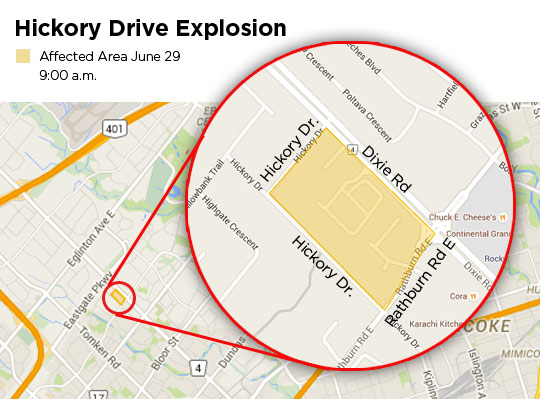 Hickory Drive explosion evacuation area