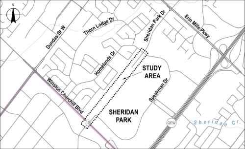 Map of the study area along Winston Churchill Boulevard and Sheridan Park