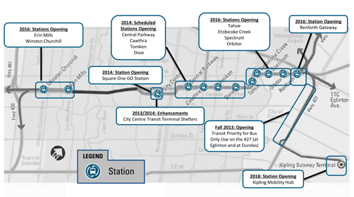 Mississauga's new transitway Construction Map