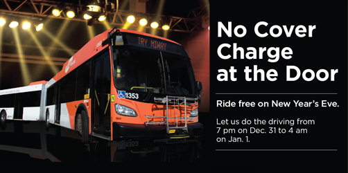 Photos of MiLocal Bus underneath spotlights with the text No Cover Charge At the Door