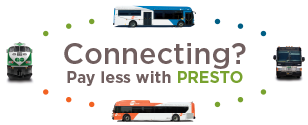 Connecting between MiWay and GO Transit? Pay less with PRESTO.