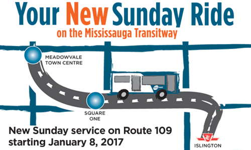 Your New Sunday Ride on the Mississauga Transitway - Route 109