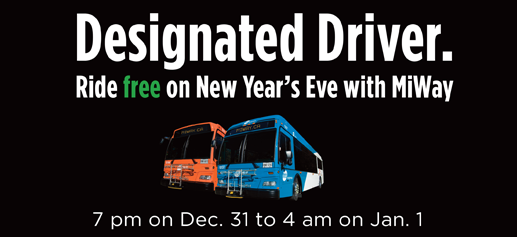 Designated Driver. Ride free on New Years Eve with photos of bus