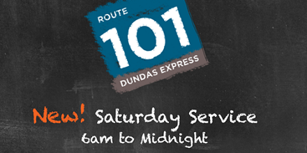 New Saturday Service for Route 101 from 6am to midnight