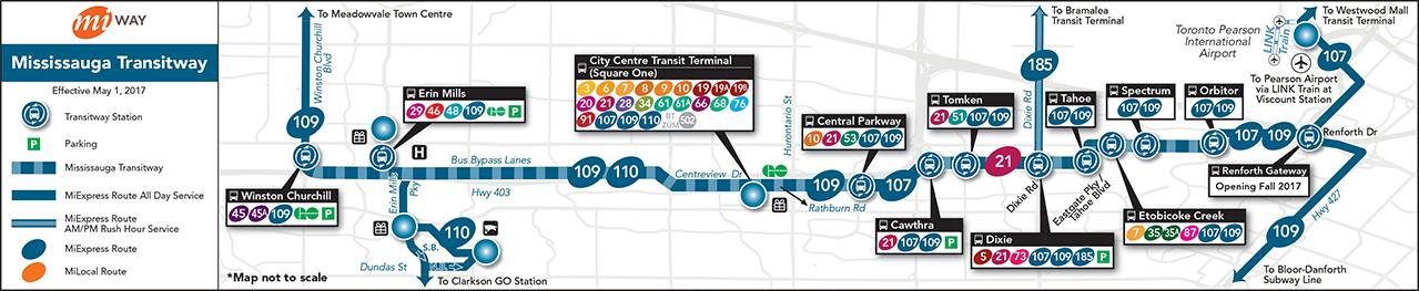 Mississauga Transitway Service Plan Map