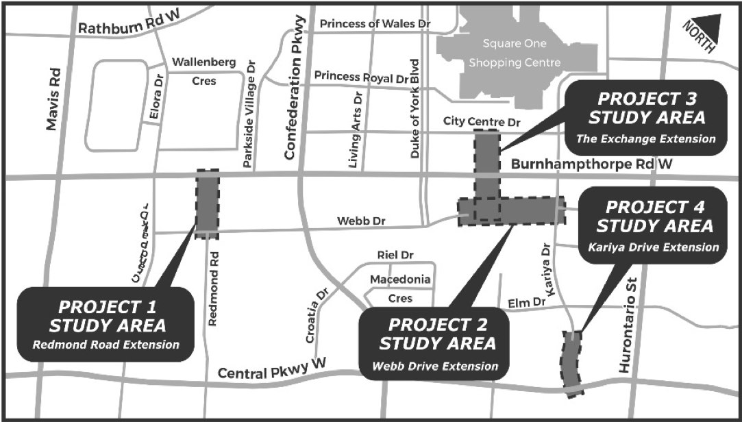 Municipal Class Environmental Assessment Studies for the Extensions of Redmond Road, Webb Drive, The Exchange and Kariya Drive Map