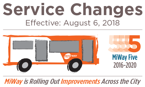 MiWay Five Service Changes Effective August 6