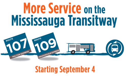 Web Banner - More Service on the Mississauga Transitway Starting September 4