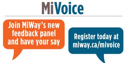 Join MiWay's Feednack Panel ay miway.ca/mivoice