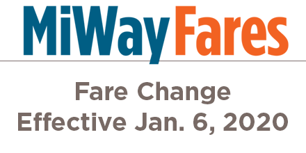Effective January 6 MiWay Fares will change