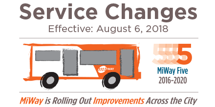 MiWay Service Changes Effective August 6