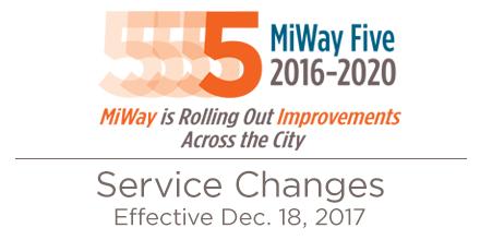MiWay Service Changes Effective Dec. 18, 2017