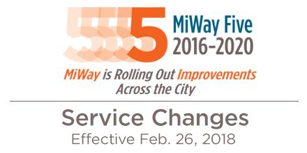 MiWay Service Changes Effective Jan. 1, 2018