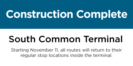 Construction complete at South Common Terminal on November 11